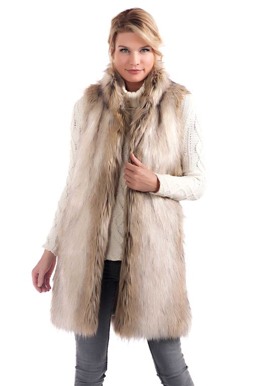 Russian Wolf Knee-Length Faux Fur Vest | Womens Faux Fur Vests .