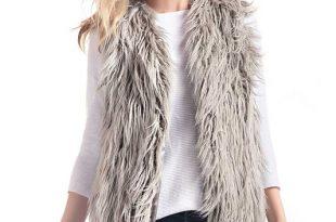 Grey Tibetan Lamb Faux Fur Vest | Womens Faux Fur Vests - Donna .