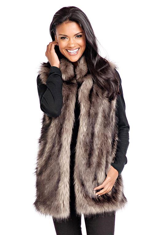 Grey Wolf Faux Fur Hook Vest | Womens Faux Fur Ves