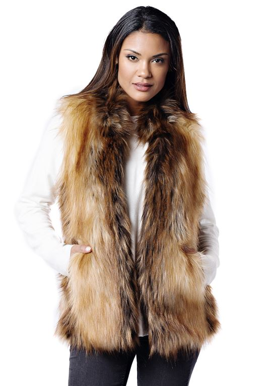 Red Fox Faux Fur Hook Vest | Womens Faux Fur Ves