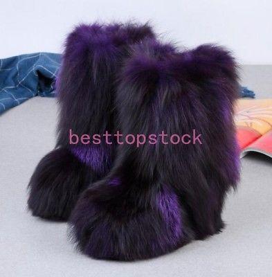 Luxury Eskimo Women Winter Big Fluffy Boots Fox Fur warm Multi .