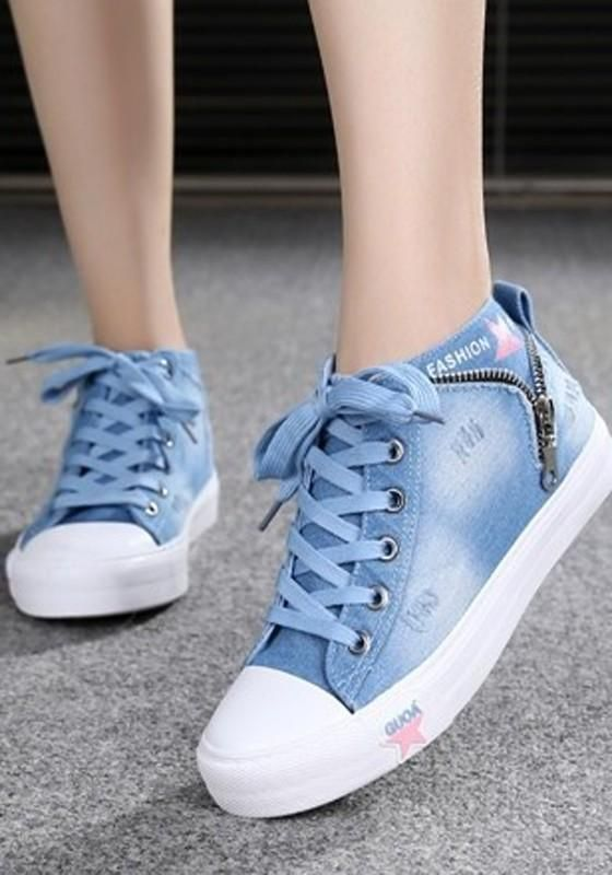Light Blue Round Toe Flat Lace-up Canvas Casual Shoes in 2020 .