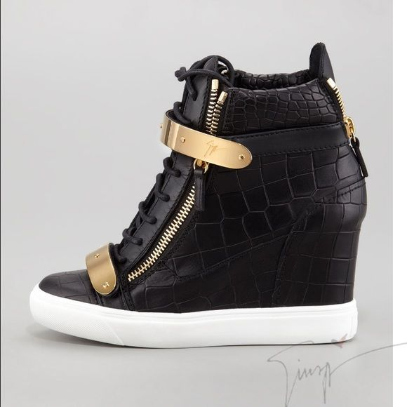 Giuseppe Zanotti Black Leather Wedge Sneakers 37 Authentic Women .