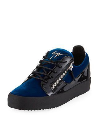 Giuseppe Zanotti Men's Velvet & Patent Leather Low-Top Sneakers in .
