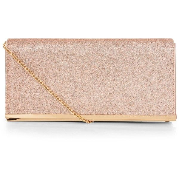 New Look Rose Gold Glitter Clutch (62 BRL) ❤ liked on Polyvore .