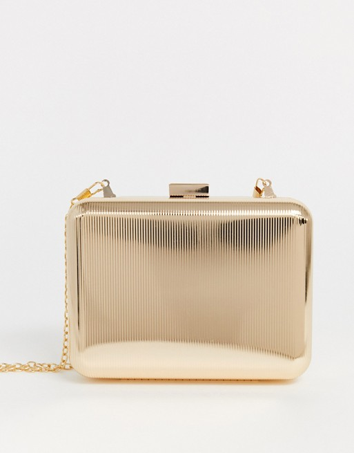 True Decadence embossed gold metal box clutch bag | AS