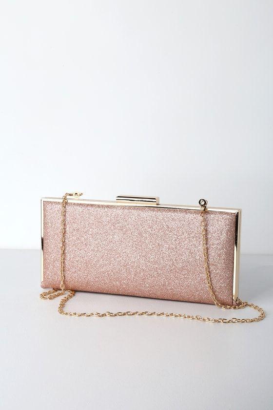 Gleam Come True Rose Gold Glitter Clutch | Glitter clutch bag .