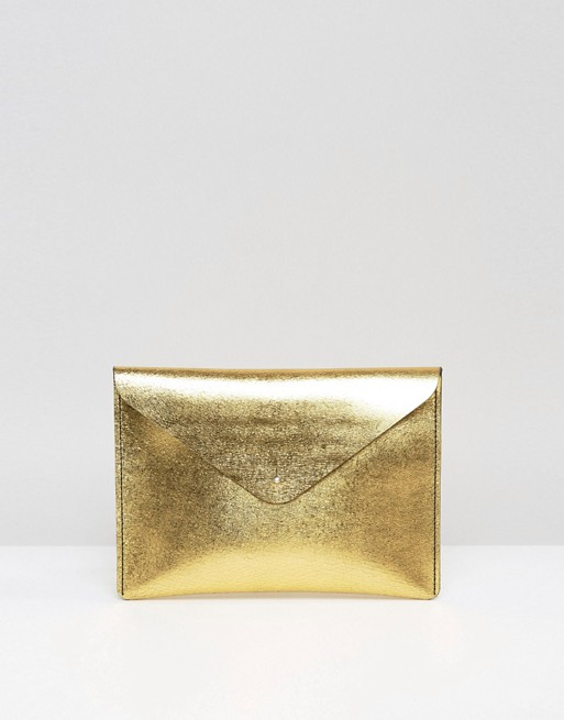 Leather Satchel Company Clutch Bag in Antique Gold | AS
