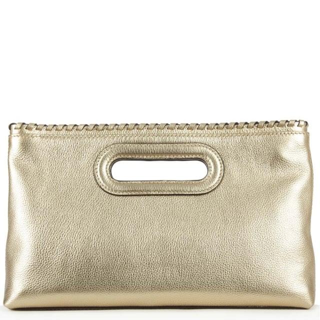 Michael Kors Rosalie Large Gold Leather Clutch B