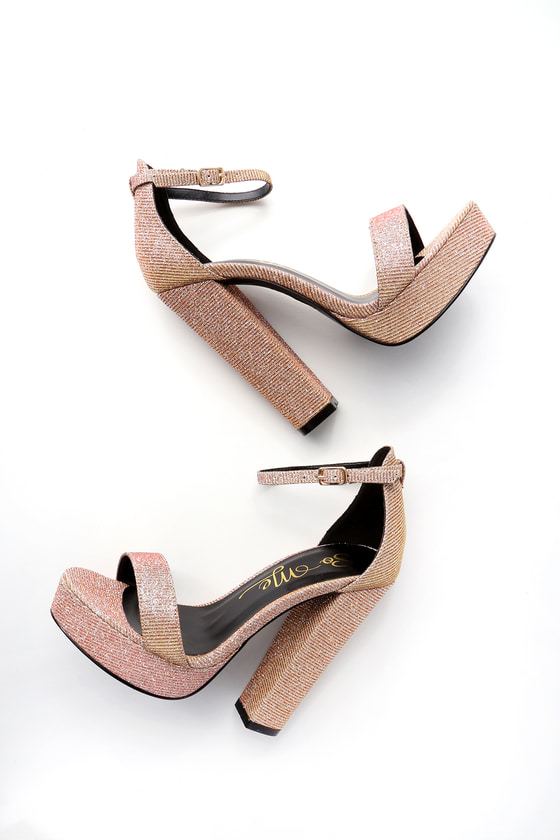 Chic Rose Gold Heels - Sparkly Heels - Ankle Strap Hee