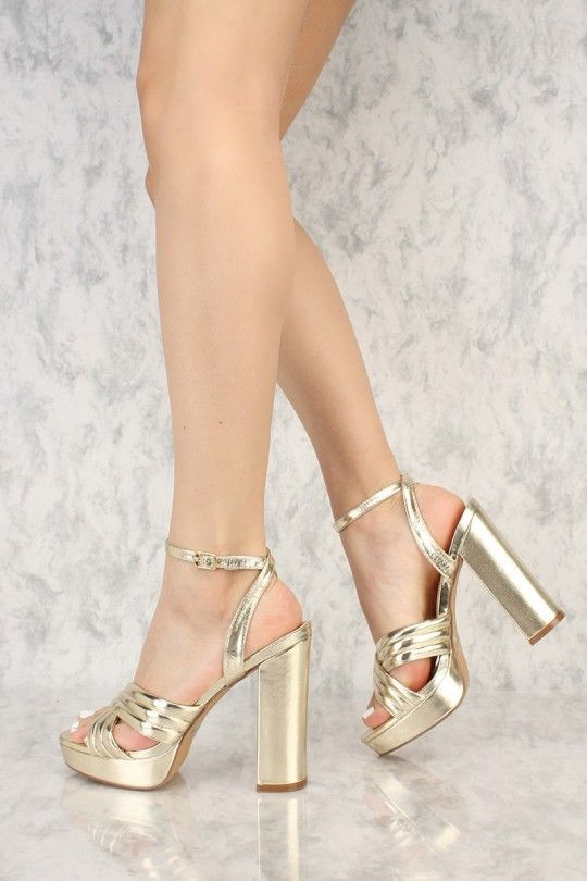 Gold Metallic Padded Criss Cross Open Toe Platform Pump Chunky .