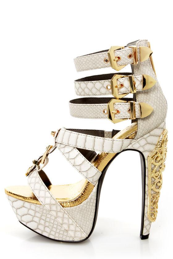 Privileged Victory White Croc and Gold Belted Platform Heels - $85.