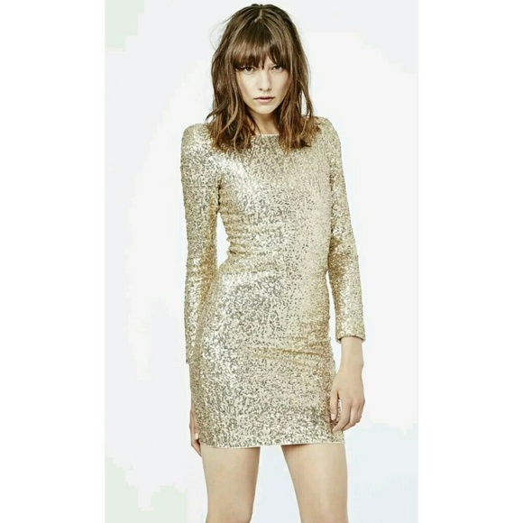 Maje Dresses | Gold Sequin Dress | Poshma
