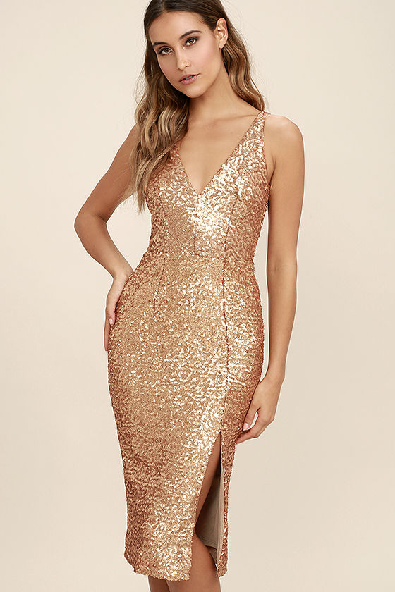 Dress the Population Camilla - Gold Sequin Dress - Midi Dre
