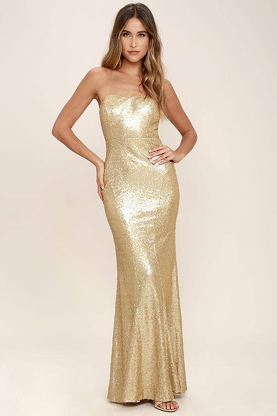 Stunning Gold Sequin Dress - Strapless Dress - Maxi Dress - $84.