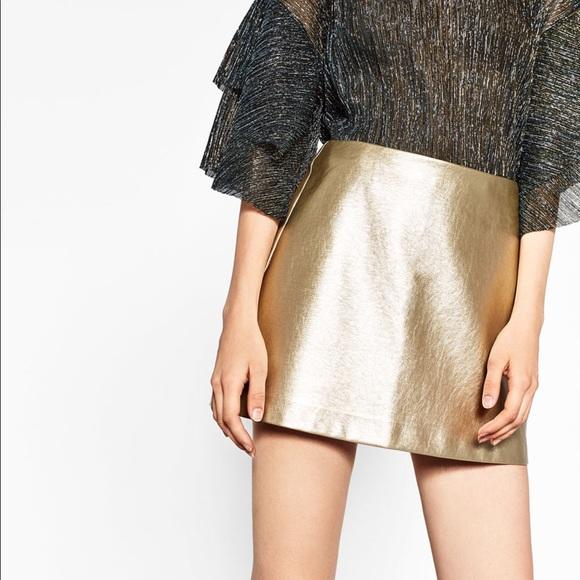 Zara Skirts | Gold Skirt | Poshma