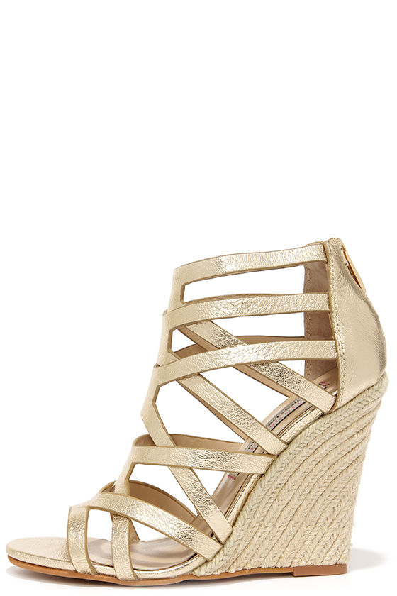 Pretty Gold Wedges - Caged Heels - Espadrille Wedges - $139.