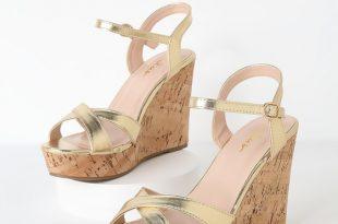Cute Gold Sandals - Wedge Sandals - Cork Sandals - Gold Wedg