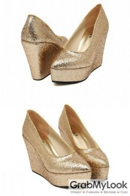 Shoes :: Wedges :: Gold Silver Glitter Wedges Platforms High Heels .