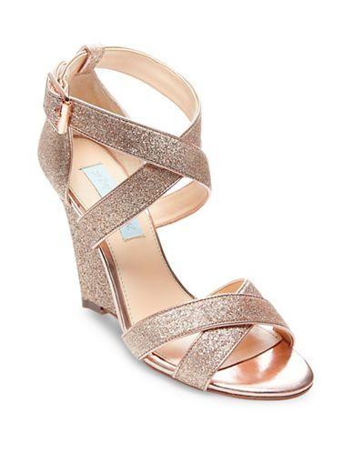 Betsey Johnson Cheryl Gladiator Glitter Wedge Sandals Women's .