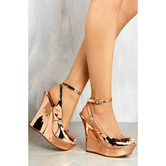 Liliana Shoes | Sold Out Rose Gold Wedges | Poshma