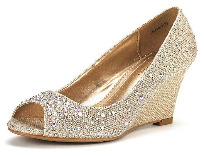 30 Best Gold Wedding Wedges | Gold wedge shoes, Wedge wedding .