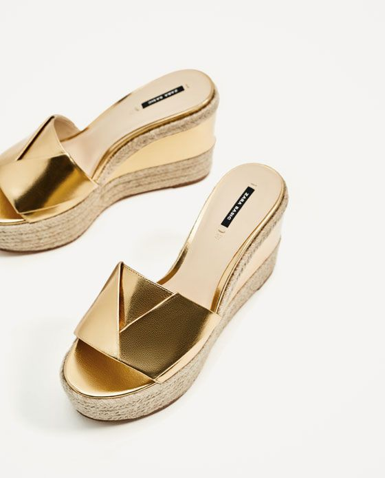 Image 4 of GOLDEN JUTE WEDGES from Zara | Gold wedge shoes, Zara .