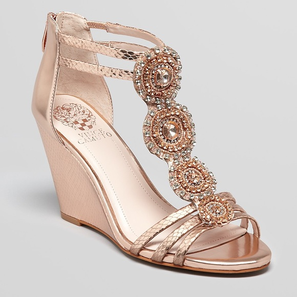 Vince Camuto Shoes | Nwot Size 85 Rose Gold Wedge Heels | Poshma