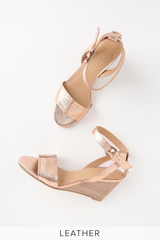 Splendid Tadeo - Metallic Leather Sandals - Rose Gold Wedg