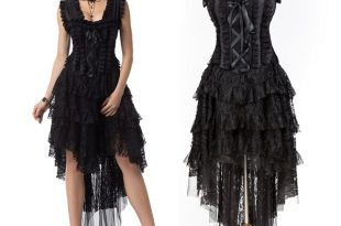 Prom Black Floral Lace Victorian Gothic Clothing Steampunk Corset .
