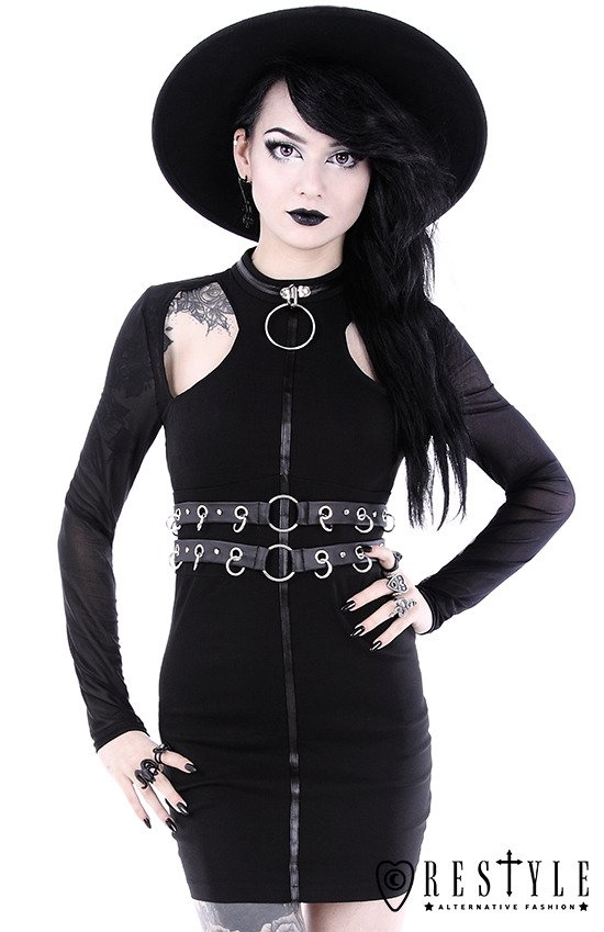 "Black gothic pencil dress with ring collar ""RING COLLAR DRESS ."