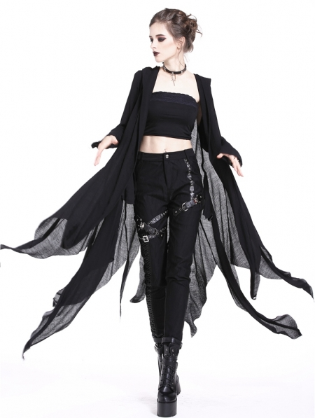 Black Gothic Casual Hooded Asymmetrical Jacket for Women .