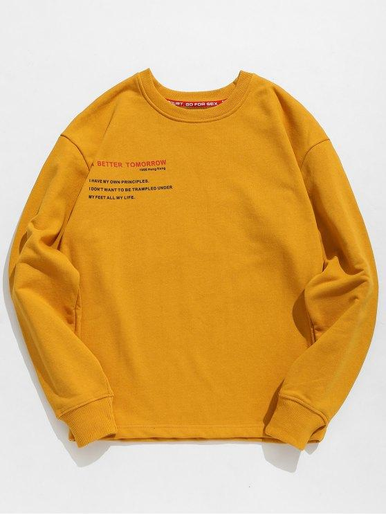 35% OFF] 2020 Letter Human Print Graphic Sweatshirt In BEE YELLOW .