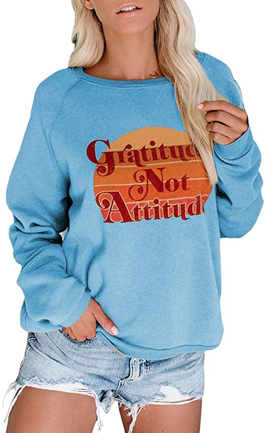 Sovelen Womens Graphic Sweatshirts Casual Loose Tops Long Sleeve .