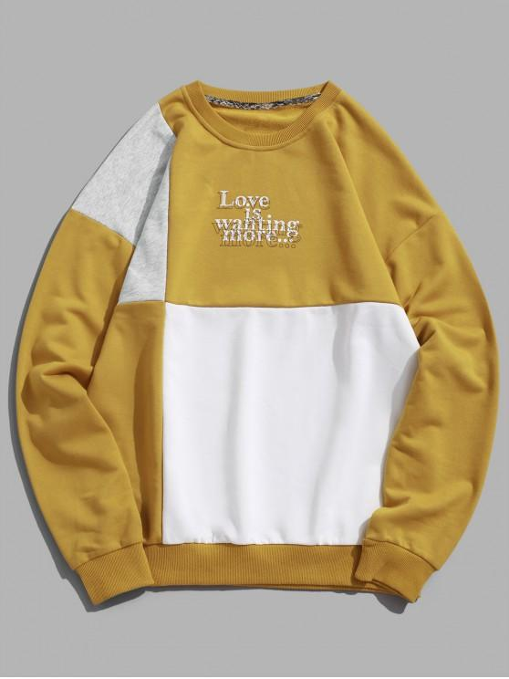 45% OFF] 2019 Letter Print Hit Color Graphic Sweatshirt In WHITE .