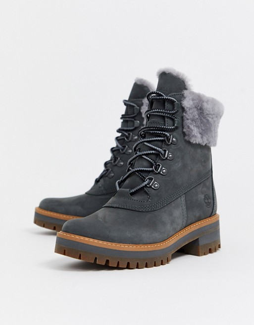 Timberland Courmayeur Valley shearling ankle boots in gray | AS