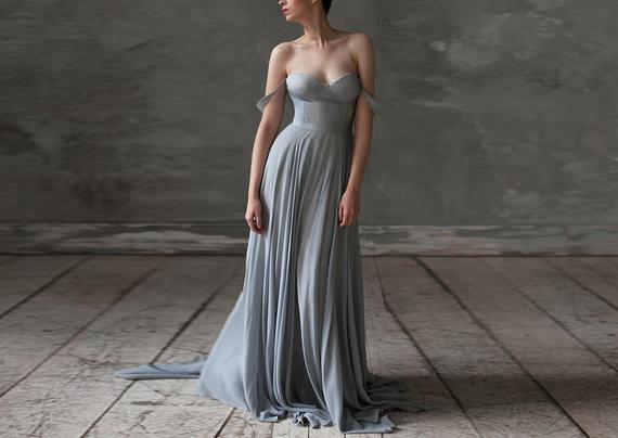 Grey Wedding dress silk boho Bohemian bridesmaid dress blue | Et