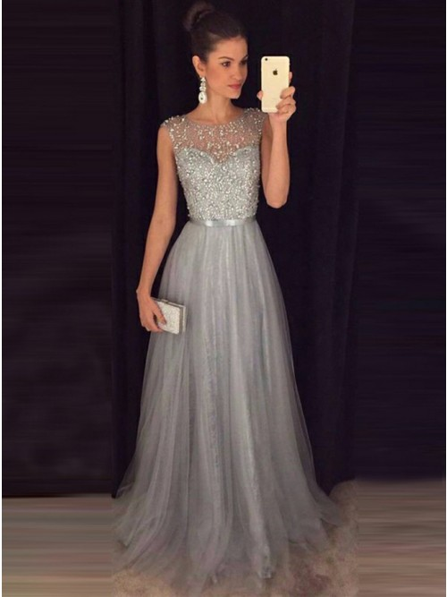A-Line Bateau Light Grey Tulle Prom Dress with Beading Sash .