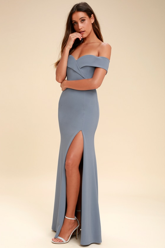 Lovely Blue Grey Maxi Dress - Off-the-Shoulder Maxi Dre