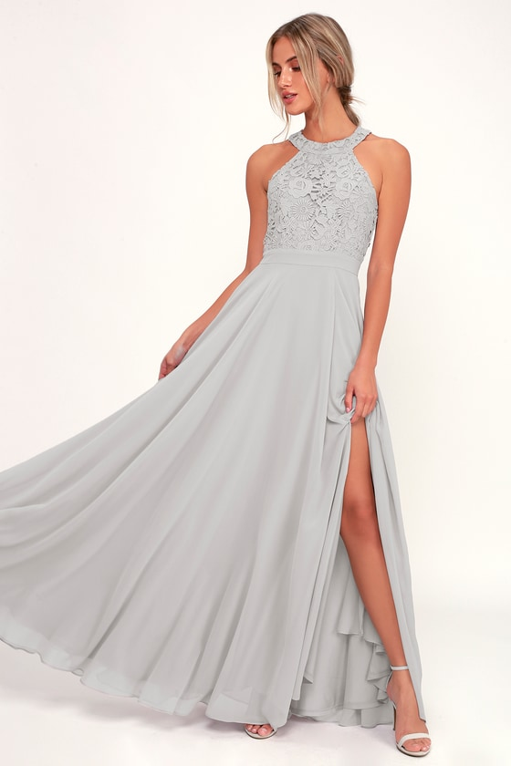 Picture Perfect Light Grey Lace Maxi Dress in 2020 | Taupe maxi .