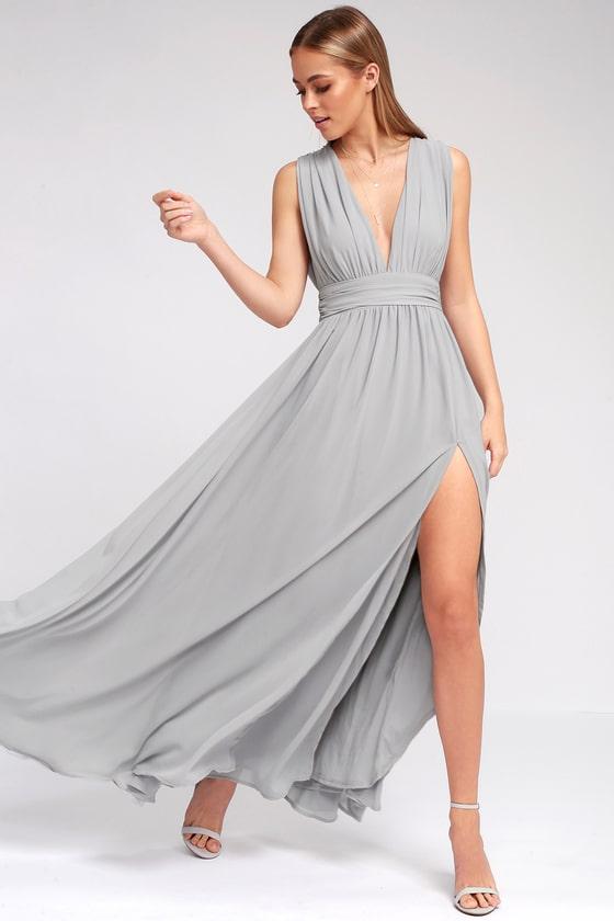 Heavenly Hues Light Grey Maxi Dress | Light grey bridesmaid .