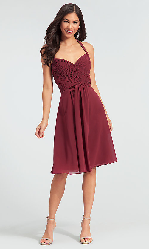 Halter Short Kleinfeld Bridesmaid Dress - PromGi