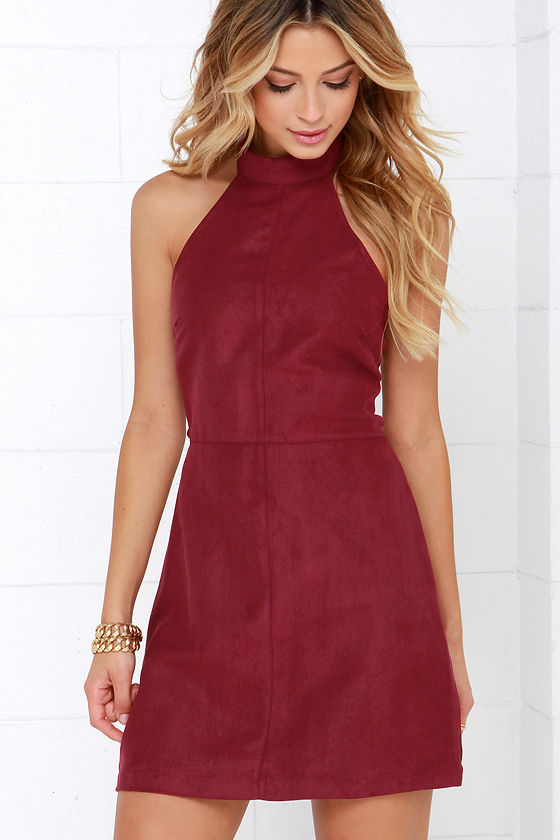 Wine Red Dress - Halter Dress - A-line Dress - $48.