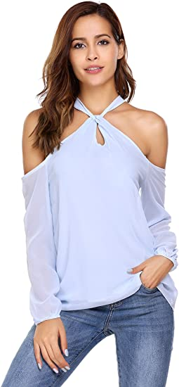 Women Chiffon Off Shoulder Long Sleeve Halter Neck Shirt Blouse .