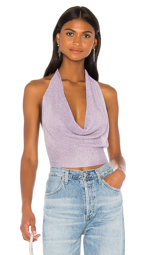 superdown Rubie Cowl Neck Top in Lavender Metallic | REVOL