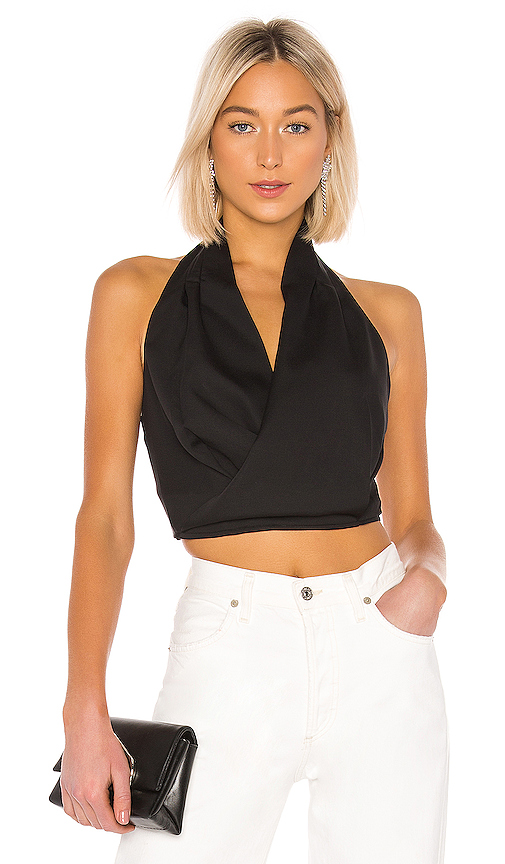 J.O.A. Halter Neck Crop Top in Black | REVOL