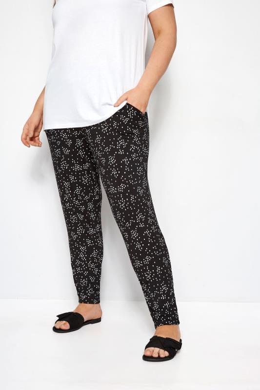 Black & White Double Pleat Spot Harem Trousers | Sizes 16 to 36 .