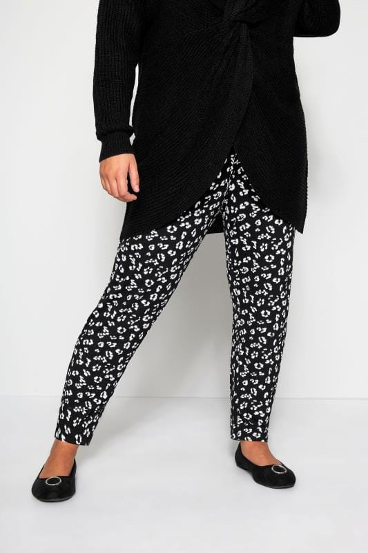 Black Animal Print Harem Trousers | Sizes 16 to 36 | Yours Clothi