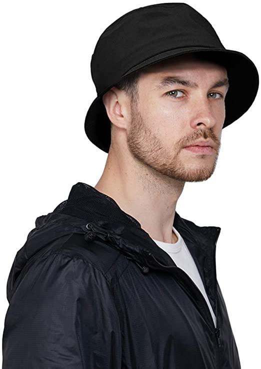 DOCILA Black Bucket Hat for Men Stylish Waterproof Rain Hats .