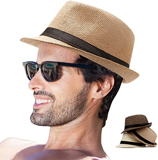 Amazon.com: Fedora Hat Mens Fedora Hats for Men Trilby Hat Straw .
